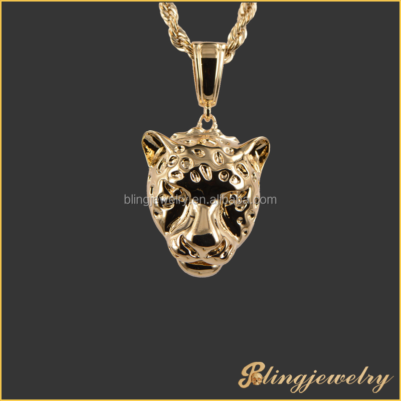 925 silver stering CZ paved animal shaped leopard Head Pendant