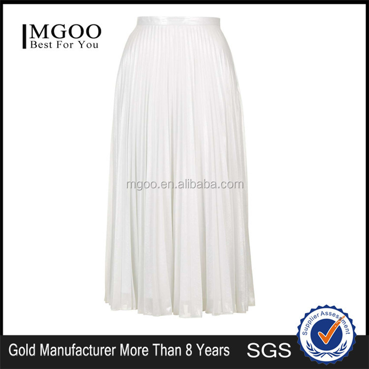 Hot Sale Iridescent Pleated Skirts High Waist Zip Up Plain White Beach Style Long Skirts