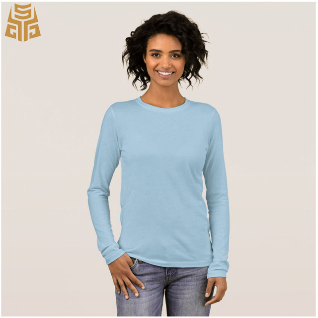 Round Neck Light Blue Casual Long Sleeve T Shirt Womens