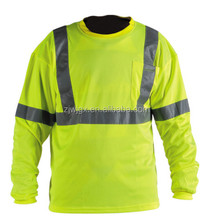 100% polyester high quality long sleeve reflective shirt for men