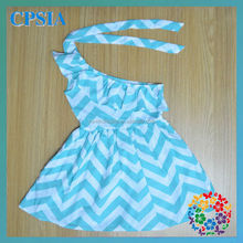 2013 Hot Sale One shoulder Chevron Dresses Kids Clothing Whoelsale Baby Cotton Frocks Designs Kids Wear Party Strip Dress
