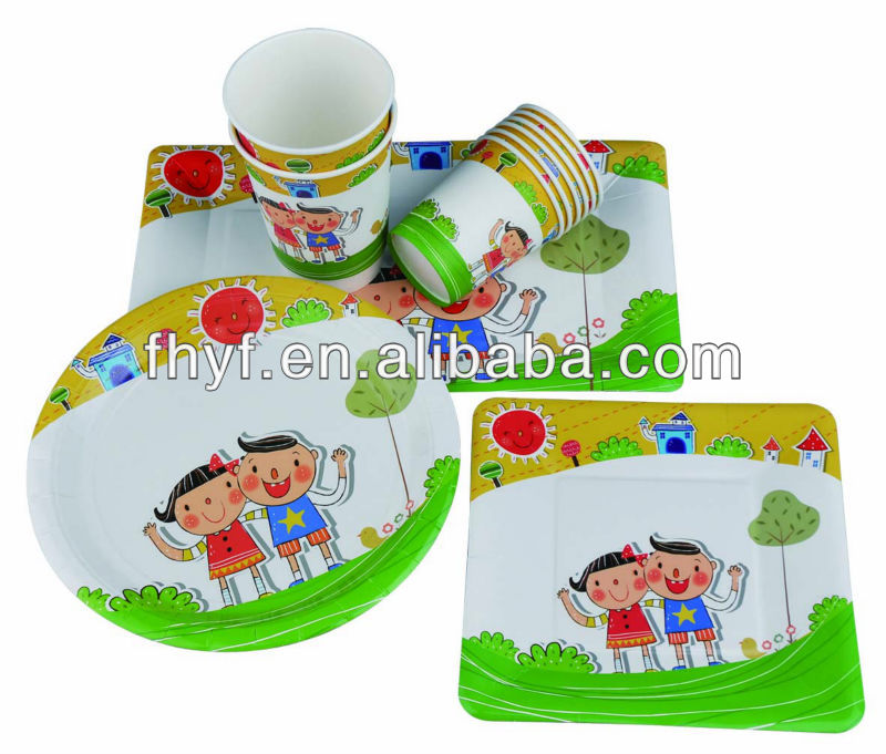 square /round shaped food grade kids party paper plates cups sets