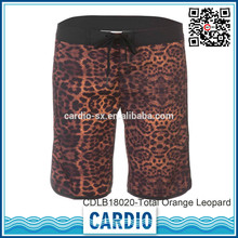 92% polyester 4 way stretch Total Orange Leopard womens beachshorts gay pants