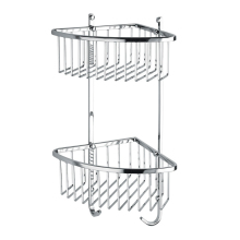 Wall corner two tier metal wire bathroom <strong>shelf</strong> for storage