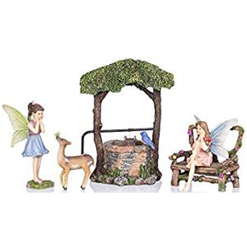 Fairy Garden Wishing Well Kit Miniature Hand Painted Figurine Statues with Accessories Set of 5pcs for Your House or