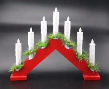Moving Flame Flameless decorative led taper Wooden Candle Bridge light