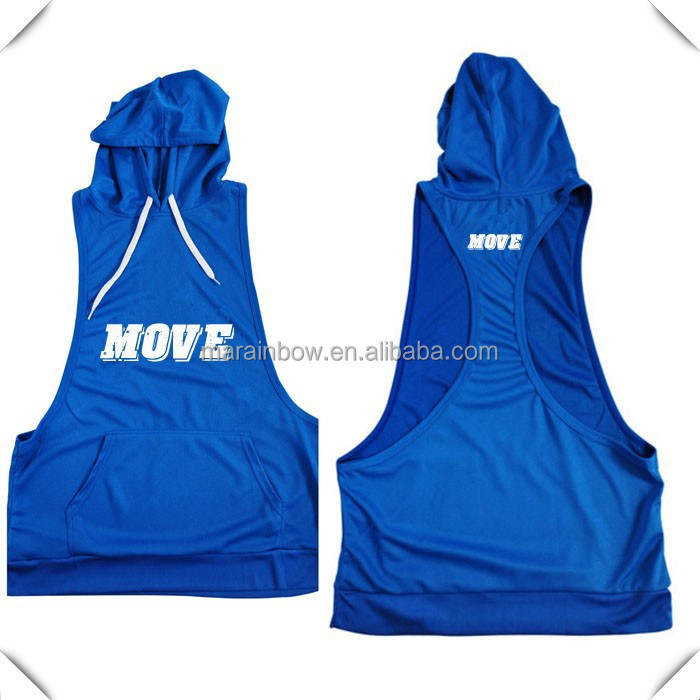 custom made 100% polyester quick dry dri fit mens stringer pullover tank tops hoody hoodie with hood printed for gym sports