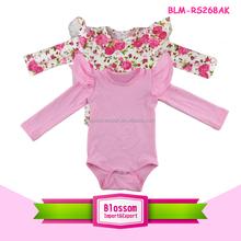 Floral Baby Girl Onesie Flutter Long Sleeve Cotton Ruffled Playsuit Cap Cute Baby Romper