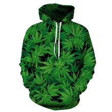 Tropical Rain Forest Leaf Hoodies Pocket Hooded Man Woman Tops Fall 3D Print Sweatshirt