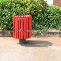 classic top open Outdoor wooden trash can with inner bin