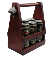 china factory BSCI solid pine wooden bar 6 pack 12 oz beer caddy carrier tote holder with bottle opener