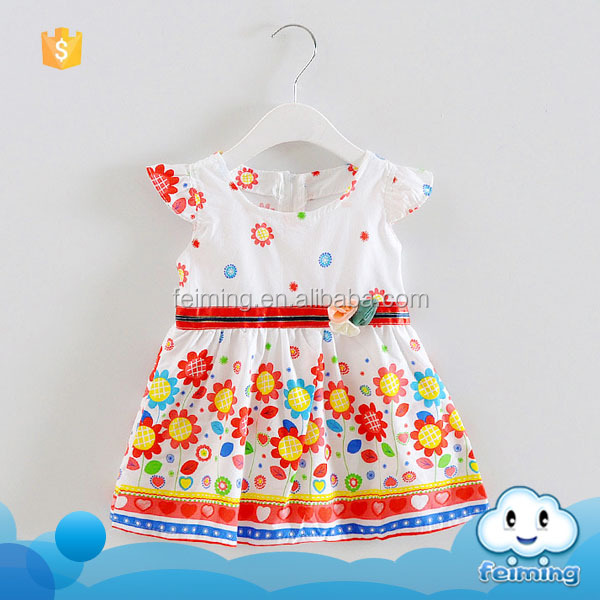 Hot popular new brand name cotton sun flower designs white fashion good uality summer baby dress pictures