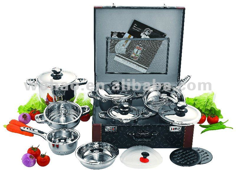 16pcs stainless steel deluxe cookware set, as seen on tv cookware, kitchenware, luxury cookware