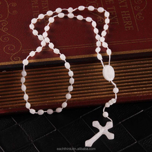 Cheap Christmas Plastic Night Glowing Cross Rosary Christian Necklace
