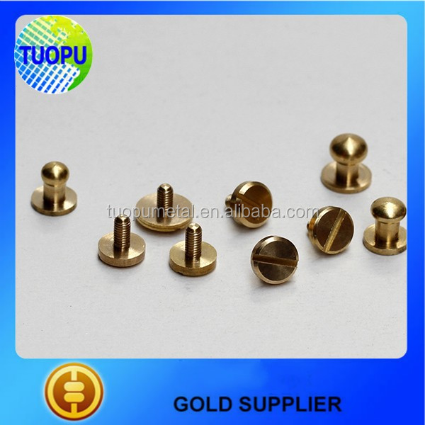 Bag Parts & Accessories Solid Brass Screw Studs,10mm Arc Head Button Brass Studs for Leather Belt Shaft