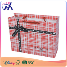 Pink color Paper decorative packaging bags for small gift with printed ribbon bow tie design