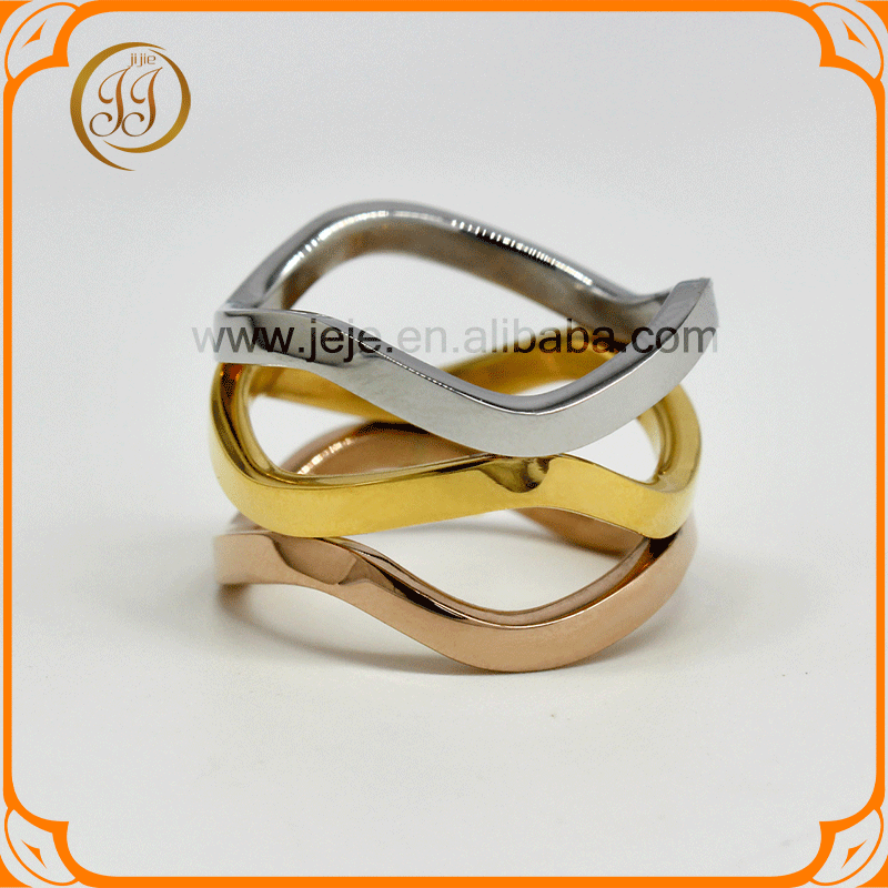 Bulk price charm women jewelry three colors gold rings