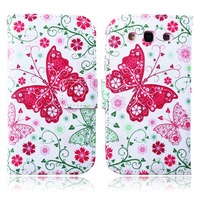 For Samsung Galaxy S3 i9300 Style Beautiful Print Cover Stand PU Leather Phone Bag Magnetic Shell Case Wallet