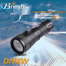 DIV08W underwater fishing light red light 1500lumens video dive light