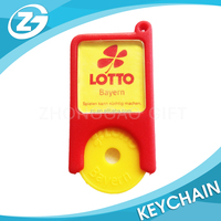China Manufacter Custom Personalized Trolley Token Keyring Plastic Coin Holder Keychain