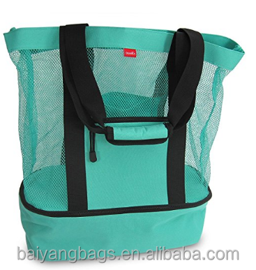 Custom Mesh beach tote bag cooler bag with insulated compartment