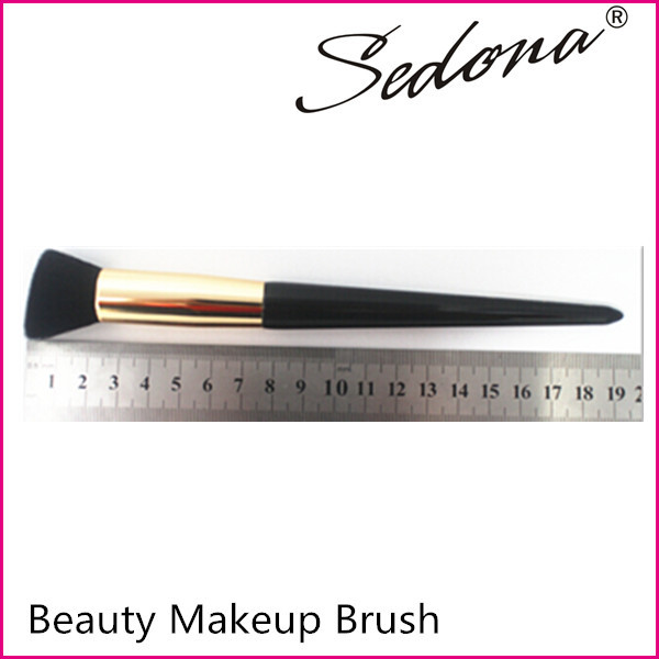 Sedona foundation brush, angled hair shape brush, tapered handle shape brush, golden ferrule brush