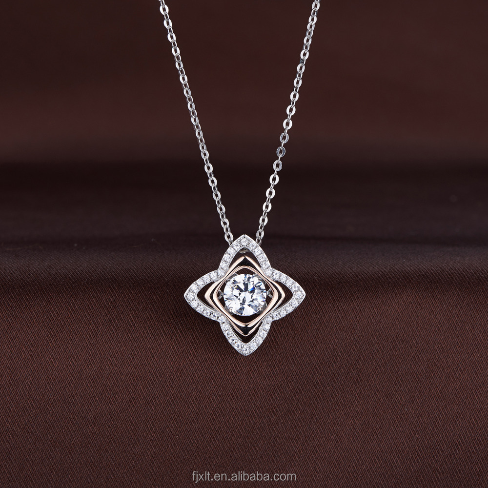 925 Sterling Silver Necklace Jewelry Brilliant Zircon Star or Flower Design Dangcing Pendant