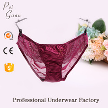 2017 wholesale lace underwear transparent sexy mesh young girl cute underwear satin panties
