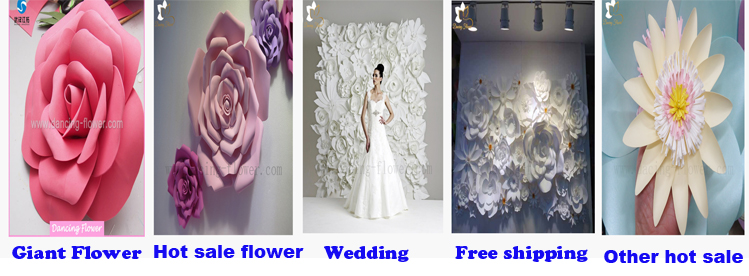 Artificial Ivory decoration paper flower wall for wedding backdrop