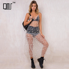 Overall embroidery transparent mesh dress sexy girls' sheer beach wear