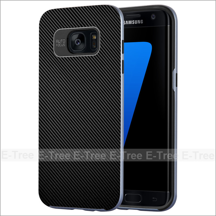 2017 Carbon Fiber Pattern 2 in 1 Hard Tpu Phone Case For Samsung Galaxy S7 edge