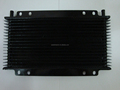 Black motorcycle transimission oil cooler