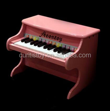 intelligent trendy kids toys elegance piano keyboard instruments musical 25 keys solid pink color kids wooden upright piano toy