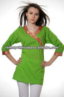 Wonderful Green Plain Kurti With Lace In Angrakha Style 2016