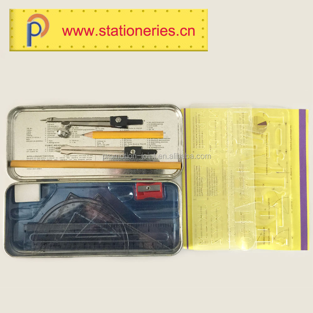 Mathematical geometry stationery tool set in metal box