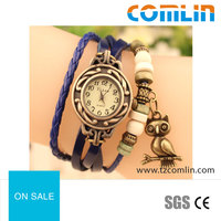 wholesale Retro fashion leather multicolor owl student lady bracelet watch quartz watch