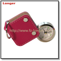 High quality funny lovely mini folding analog pu leather quartz travel table alarm clock