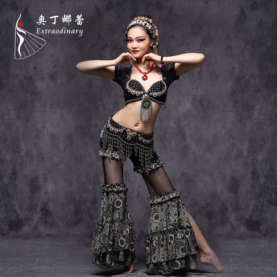 Tribal style Belly Dance Costume 3 pieces top belt and pants Made in China