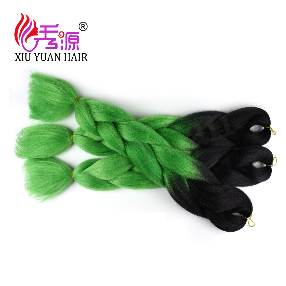 Teen good looking black to green ombre color jumbo braids for popsy 24 inches synthetic braiding hair extension