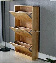 3 door melamine MDF wooden shoe rack/shoe cabinet