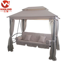 Comfortable outdoor 3 person patio daybed, canopy gazebo swing with strong metal frame