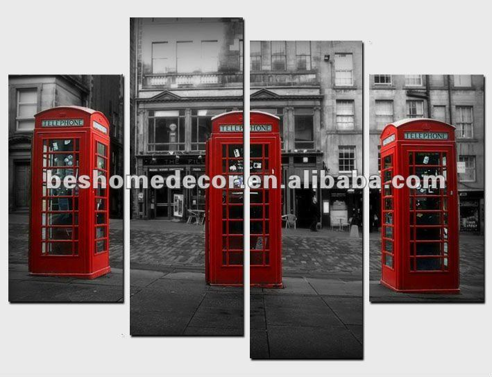 Telephone booth Modern Abstract Huge Art fabric painting designs Canvas Large+free gift