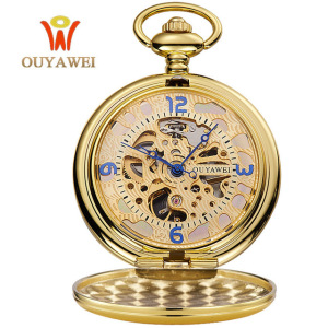 Mechanical Men Vintage Pendant Watch Necklace Chain Antique Fob Watches Gold Pocket Watch