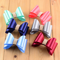 wholesale Best Quality Multicolor 7cm satin rhinestone hair bow