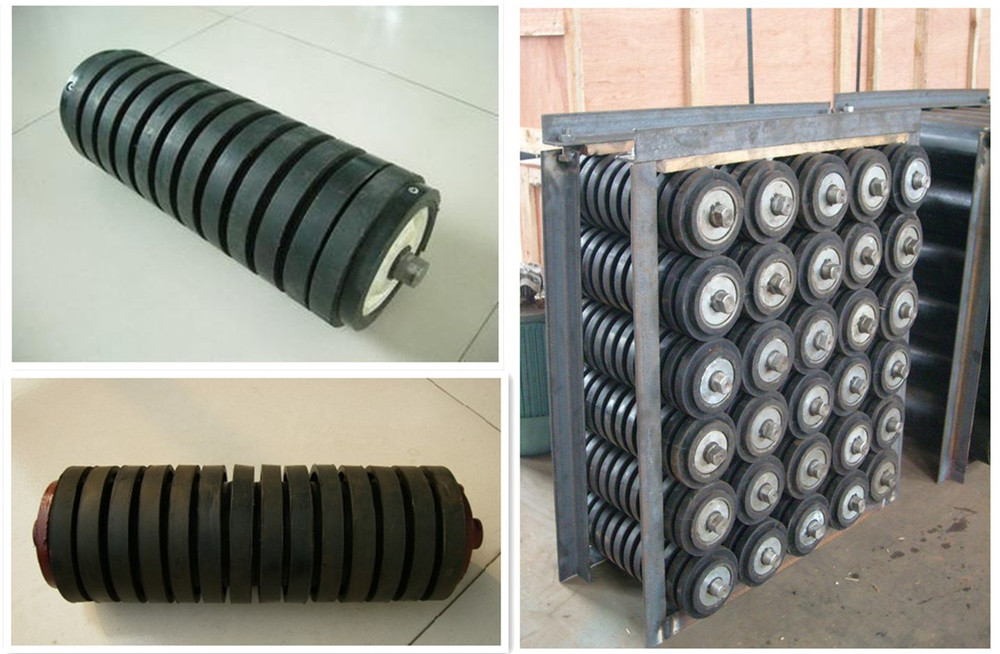 Rubber coated impact roller carring impact roller for belt conveyor