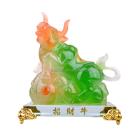Jade like resin cow animal sculpture Resin bull statue craft Fengshui Ox ornament for home decor