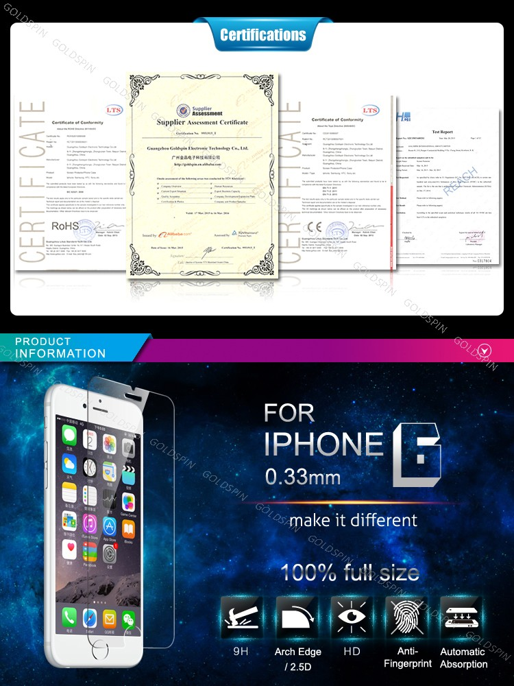 GOLDSPIN Premium 9H Tempered Glass Screen Saver For iPhone 6
