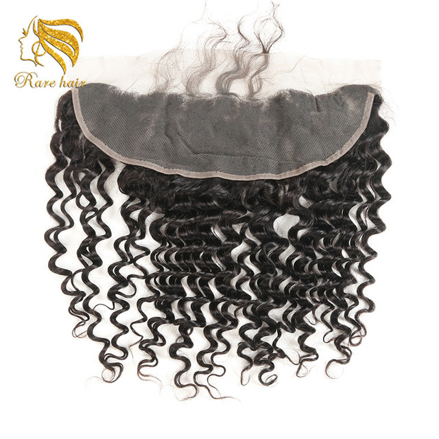 Lsy Wholesale Pre-plucked Peruvian Deep Wave Lace Frontal Closure 13*4 Ear to Ear Human Hair Free Part Lace Frontal