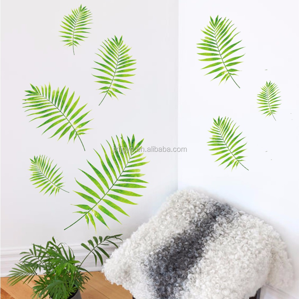 DIY removable fresh leaves pvc wall art decal decor vinyl stickers in living room