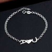 White gold plated AAA zircon jewelry 925 sterling silver bracelet